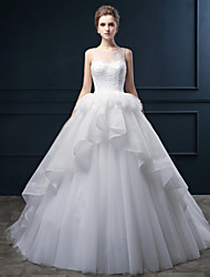 Ball Gown Wedding Dress - Ivory Court Train Scoop Satin / Tulle