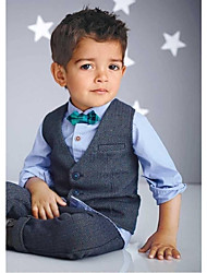 Silver Cotton Ring Bearer Suit - 4 Pieces