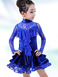 Latin Dance Dresses Children's Performance Spandex Lace 1 Piece Latin Dance Long Sleeve Dropped Dress