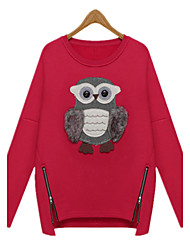 Fashion Autumn Winter Women's Round Neck Long Sleeve Cute Owl Pattern Plus Velvet T Shirt Casual Coat Tops
