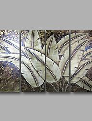 """готовы повесить протянутой рукой роспись маслом 48 """"x36"""" четыре панели стены холст искусство тропический листья цветы искусство"""
