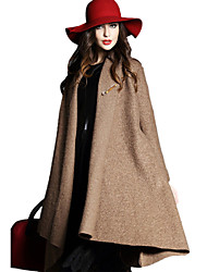 Winter Fashion  Women's Casual Mantle Shawl Long Sleeve Tweed Coat Trench Coat Overcoat