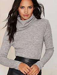 Damen Solide Einfach Lässig/Alltäglich T-shirt,Rollkragen Winter Langarm Grau Baumwolle / Kunstseide Undurchsichtig
