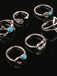 Anéis Casamento / Pesta / Diário / Casual Jóias Liga / Turquesa Feminino Anéis Meio Dedo 6pcs,7 / 8 Prateado