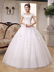 Ball Gown Wedding Dress - White Floor-length Scoop Lace / Satin / Tulle