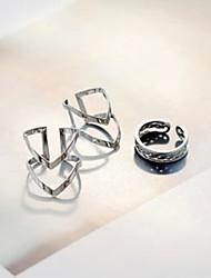 V Shape Simple Circle Adjustable Ring Set Midi Rings(Set of 3)