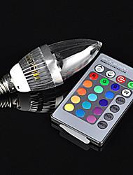 180 ° 3W 16 kleuren E14 RGB LED lamp 85-265V kaars lamp + 24key afstandsbediening