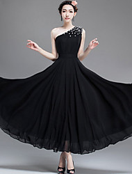 Ankle-length Chiffon Bridesmaid Dress - Black A-line One Shoulder