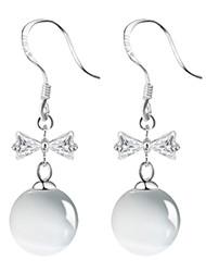 925 Sterling Silver AAA Cubic Zirconia Opal Bowknot Drop Earrings Jewelry