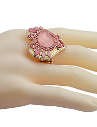 Fashion Studded With Drill Heart-Shaped Beads Alloy Ring