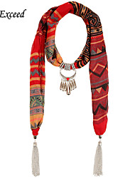 D Exceed Dark Red Black Printed Scarves for Women Voile Jewellery Wrap with Ethnic Style Charms Tassel Free Shipping
