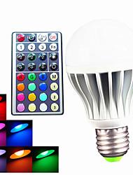 9W B22 E26/E27 Ampoules Globe LED A60(A19) 3 LED Haute Puissance 550 lm RVB Gradable Commandée à Distance Décorative AC 100-240 V 1 pièce