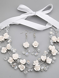 Jewelry 1 Necklace / 1 Pair of Earrings Non Stone Wedding / Party 1set Women White Wedding Gifts