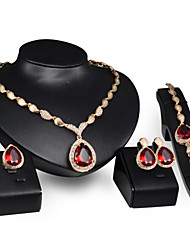 Women Wedding Jewelery Bridal Drops of RubiesNecklace Earrings Ring Bracelet Four Sets