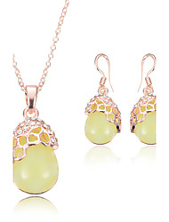 Women Wedding Bridal Oval Flower Yellow Beeswax Pendant Necklace Earrings Two Sets Of Clavicle Chain