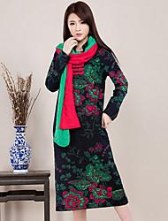 De las mujeres Vestido Casual Floral Midi Escote Chino Algodón
