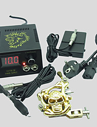 BaseKey Beginner  1 Gun Tattoo Kit K02 Wit Power Supply Switch