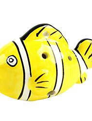 c seis furos forma ocarina peixe amarelo