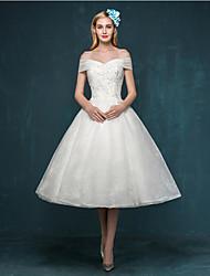 A-line Wedding Dress - Ivory Tea-length Off-the-shoulder Lace