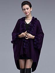 Women's  Vintage Long Cloak / Capes,Solid Red / Black / Brown / Purple  Long Sleeve Rabbit Fur / Acrylic Winter Medium