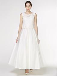 LAN TING BRIDE A-Linie Hochzeitskleid Schlichte Brautkleider Knöchel-Länge Rundhalsausschnitt Spitze Tüll mit Applikationen Spitze
