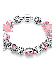 Classic Women's Loving Hearts Rhinestones Stoving Varnish Glass Silver Plated Tin Alloy Charm Bracelet(Blue ,Pink)(1Pc)