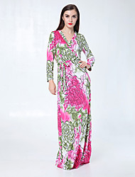 Women's Holiday / Beach Floral Loose Dress , Round Neck Maxi Polyester