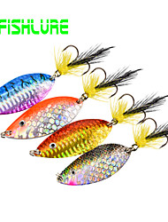 Afishlure Colorful Painted Metal Spoon Sequins with Treble Hook and Feather Tail 8g 5/16 Ounce 4pcs/lot 4 Colors