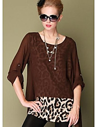 Women's Casual/Daily Simple All Seasons Blouse,Leopard Round Neck ½ Length Sleeve Black / Brown Polyester Opaque / Thin