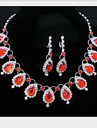 Lucky Doll Women's Elegent Stack Gem Earring And Necklace Jewelry Sets