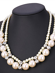 TopGold  High Qualtiy Synthetic Pearl Jewelry Necklace Women Vintage Trendy Collar Wedding Beads Multi-layer Necklaces