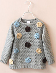Girl's Cotton Winter Thicken Cartoon  Flowers  Solid Knit  Round  Sweater