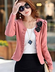 Women's Plus Size Solid Black/Pink Blazer,Casual Long Sleeve Flower/Button