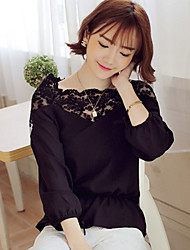 Women's Simple Lace with Chiffon Loose Blouse