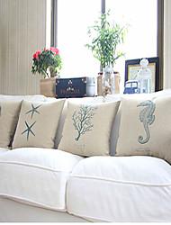 Set of 4 Ocean Series Cotton/Linen Decorative Pillow Cover