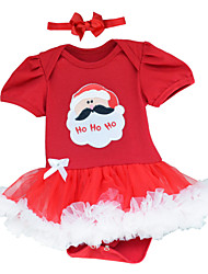 Father Chirstmas Pattern Cute Infant Baby Girls Climb Romper Dress Clothes Costume with Headband For 0~12Mouth