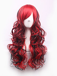 Sexy Black Red Mix Highlight Tip Curly Long Synthetic Hair Full Women's Cosplay Wig