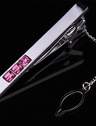 Fashion Copper Men Gift Jewelry Silver Plated Pink Crystal CZ Tie Clip Cufflinks(1PC)