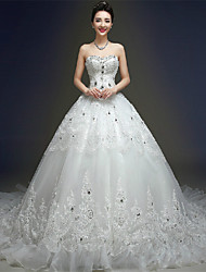 Ball Gown Wedding Dress Sparkle & Shine Chapel Train Sweetheart Tulle with Beading Crystal Lace
