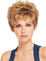 Capless Blonde Color Extra Short High Quality Natural Curly Hair Synthetic Wig