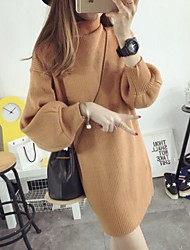 Women's Solid Fashion Thicken Dress , Casual Turtleneck Long Puff Sleeve