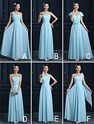 Ankle-length Chiffon Bridesmaid Dress - Sky Blue A-line Strapless