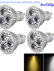YouOKLight® 4PCS Dimmable GU10 3W 300LM 3000/6000K  White/ Warm White 3-LED Spot Light Bulb - Silver + White (AC85~265V)