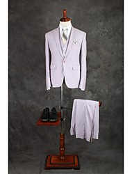 Suits Tailored Fit Peak Single Breasted One-button Cotton Blend Solid 3 Pieces Light Purple