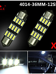 2X NEW White 36mm 12 4014 SMD Festoon Dome Map Interior LED Light Lamp DE3175 3022 12V