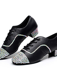 Men's and Boy's Dance Shoes Inlay Diamond Latin/Modern/Ballroom Black Customizable