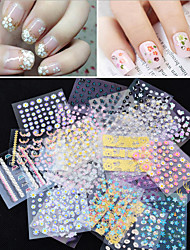 50Pcs/Lot 3D Manicure Tips Beauty Flowers Nail Art Sticker Decal