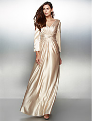 TS Couture Formal Evening Dress - Elegant A-line V-neck Floor-length Charmeuse with Criss Cross