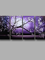 Ready to Hang Stretched Hand-painted Oil Painting 4 pieces Canvas Wall Art Modern Purple Blosssom Flowers
