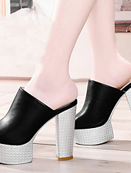 Women's Shoes Synthetic Chunky Heel Heels/Peep Toe/Comfort/Slippers Sandals / Slippers Dress / Casual Black/White